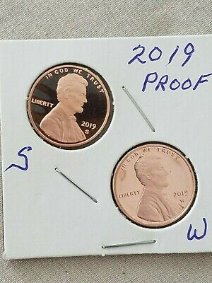 2019-S & W ~2 ~Proof~ Lincoln Cent~ Penny~&~Paper~Gem~ Proof ~ In Stock ~In 2X2