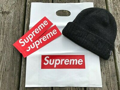 df8544fe6 SUPREME NEW ERA Arc Logo Beanie Red with Box Logo + Stickers and Bag ...