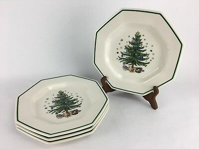 Nikko Christmastime Set Of 4 Octagon Christmas Tree Dinner Plates Made In Japan