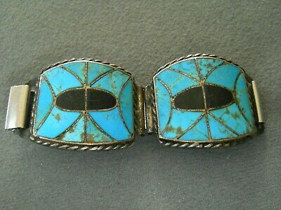 Native American Turquoise Inlay Sterling Silver Cut-out Watch Tips Signed DM