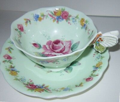 Vintage Art Deco Paragon Butterfly Handle China Cup & Saucer Roses Green