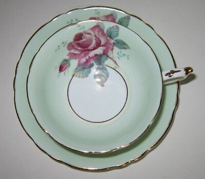 Vintage Paragon Bone China Cup & Saucer Pink Rose Mint Green HM Queen Mary Mark