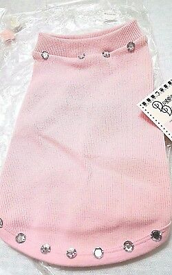 DOGGIE DESIGN, DOG SHIRT, PINK W/ RHINESTONES  on TOP AND BOTTOM, MADE IN  U.S.A