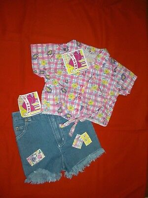 Girls Denim 2 Piece Short Outfit With Floral Multi Color Top Size 4T New W/T