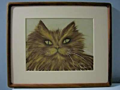 Original Pastel Painting of Cat Matted, Framed and Signed