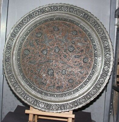 "Antique 18th-19th ce. Persian QAJAR Solid COPPER & SILVER Inlay Tray Huge 27"" D"