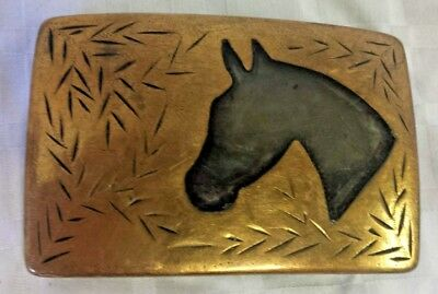 "Vintage Western Cowboy ""Black Horse Head"" Antique Brass 3"" Belt Buckle 1940's"