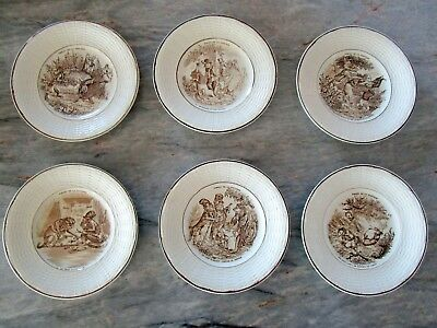 SIX Antique French Digoin Serreguemines Fontaine Fable Plates Brown Transferware