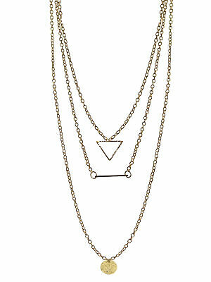 Gold Tone Triple Layer Brilliant Cut Long Necklace