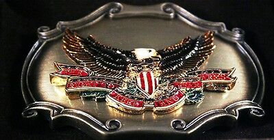 """Vtg 1978 Brass Belt Buckle """"The Right To Keep And Bear Arms"""" Raintree NRA Eagle"""