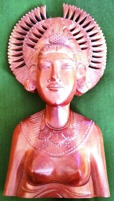 """Very Nice 10"""" Wood Carved Statue Women Lady #3918 Bali"""