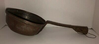 """Antique PRIMITIVE Hand Forged Copper Iron Ladle Dipper Scoop Skimmer 19"""" Long"""