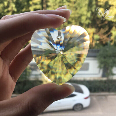 45MM Heart Crystal Prisms Chandelier Part Pendant Suncatcher Glass Art Hanging