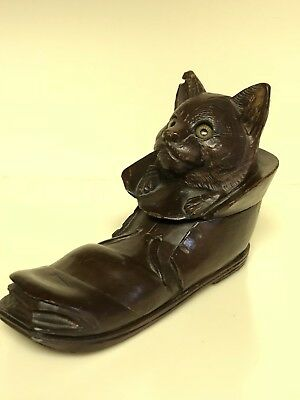 Antique Hand Carved Black Forest Cat, Glass Eyes, Inkwell in a Shoe/Boot c.1900