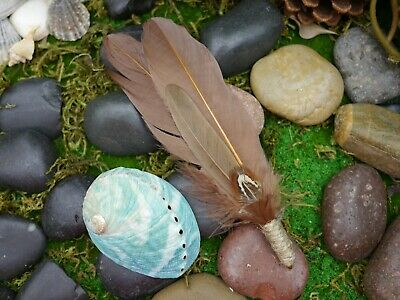 Smudging Kit Smudge Feather Wand  (Small Abalone Shell 8cm)