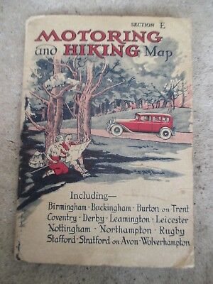 Vintage Old Motoring And Hiking Map Section E