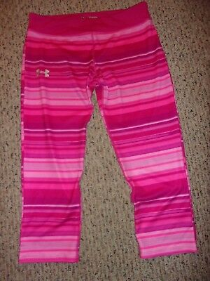 Under Armour YXL Girls XL Heat Gear Pink Striped Cropped Yoga Pants Fitted