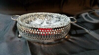 Vintage Pressed Clear Glass Condiment Dish W/ Silver Plated Tray England
