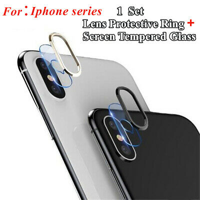 For IPhone X XS 7/8P XR Tempered Glass Camera Lens Protector Cover + Metal Ring