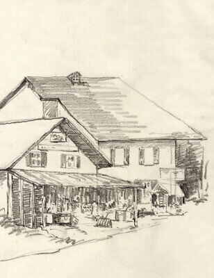 Marcus Adams - Early 20th Century Graphite Drawing, Chalet