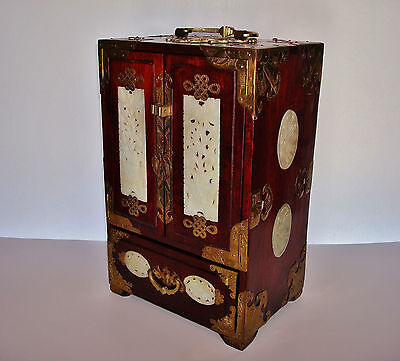 Old Chinese Rosewood & Brass Jewelry Box w/ 8 Carved Nephrite Jade Medallions