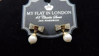 Genuine Brighton MFIL Windsor JE7212 Gold Plated Bow & Glass Pearl Drop Earrings