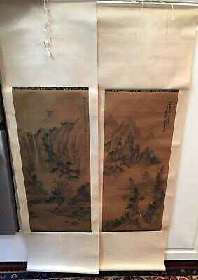 "VTG Japanese Hand Painted on Silk ""MOUNTAIN SCENERY"" Large Scrolls Signed,PO LUN"