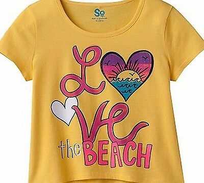 SO Girls 7-16 Yellow Love The Beach Graphic Crop Shirt Tail Top