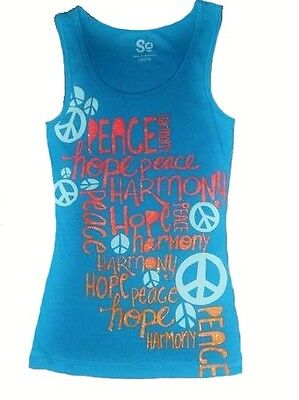 SO Girls 7-16 Blue Sun Braided Racerback Ribbed Peace Tank Top Swim Cover