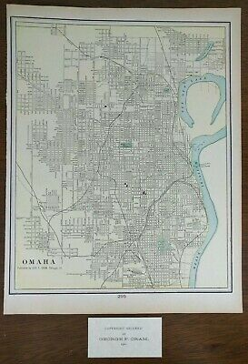 "OMAHA NEBRASKA 1901 Vintage Atlas Map 14""x11"" ~ Old Antique BELLEVUE PAPILLION"