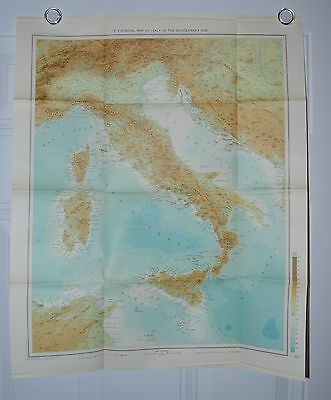 Vintage Physical Map Italy in Quaternary Age Stampa Sagdos Milano Touring Club