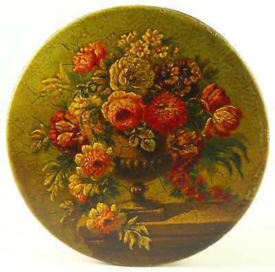 !Antique 1790-1810 FINE Hand Painted Wooden Round Box FREDERIC MASSIN Paris
