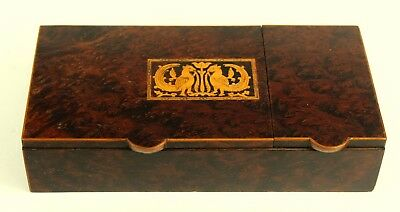 ! Antique FINE SORRENTO WARE Inlaid Root Burl Veneer Wood Cigarette Rolling Box