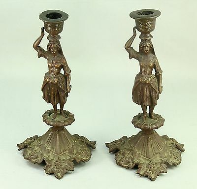! Pair Zimmermann Hanau Germany Patinated Bronze Candle Holders Grape Gathering