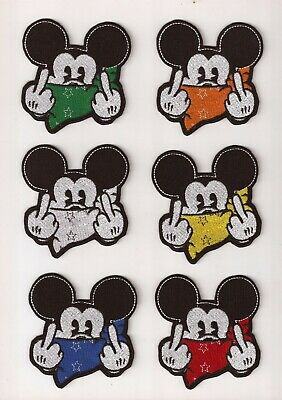 Rude Bad Mickey Mouse Middle Finger & Red Bandana Embroidery Iron On Patch
