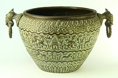 ! Antique FINE Indo-Persian Thick Brass Hand-Tooled Handled Lg Vessel Pot 13""