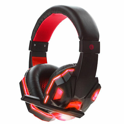 New 3.5mm Gaming Headset Mic RED LED Headphones For PC PS4 Xbox one 360 Laptop