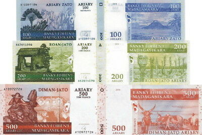 MADAGASCAR - Lotto 3 banconote 100/200/500 Ariary 2008 FDS - UNC