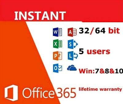 INSTANT MS Office pro 365  2016 2019 PC/Mac Windows 5TB 5User Lifetime download