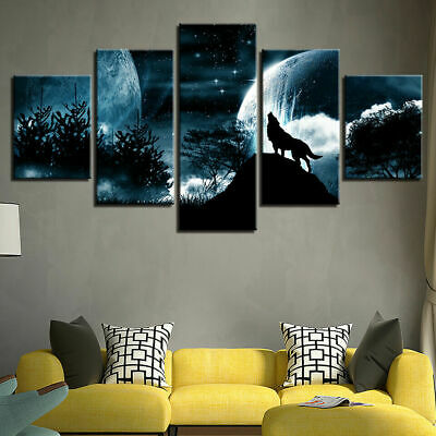 Home Decor Wild Animals Wolf Wolves Canvas Prints Painting Wall Art Poster 5PCS