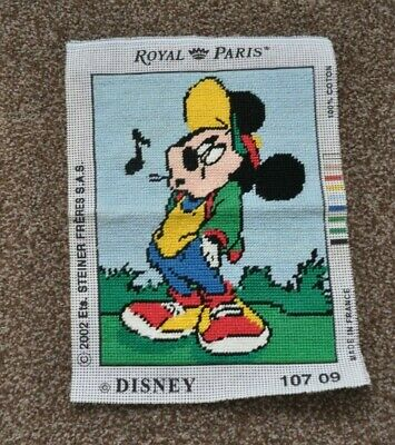 """Royal Paris Disney """"Mickey Mouse"""" Completed Tapestry Canvas 12 x 8 3/4"""""""