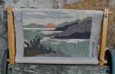 Completed Long Stitch Tapestry Canvas of Landscape in Contemporary Colours