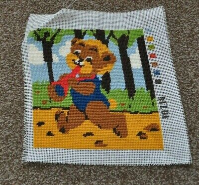 """Completed Tapestry Canvas - Teddy Bear with Trumpet approx 10 x 10"""""""