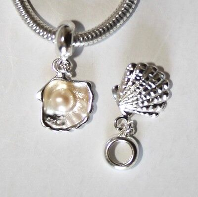 SEA SHELL w. genuine pearl-Solid 925 sterling silver European charm bead/Pendant