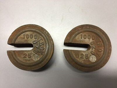 TWO Vintage Cast Iron Stacking / Nesting Scale Weights - Troy Ounce - 1000, 25