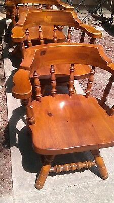 Vintage Kingsize Windsor Spindle Back Colonial Tavern Knotty Pine Captain Chairs