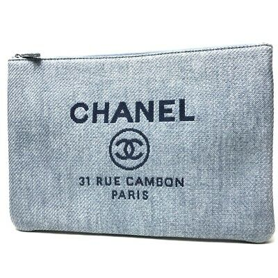 2a4cb4df7287 AUTHENTIC CHANEL Straw Deauville Logo Canvas CC Clutch Bag Gray straw A80117