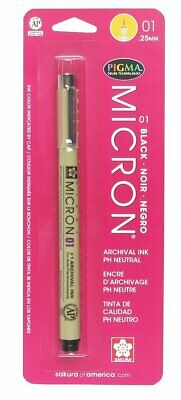 Sakura Pigma Micron 01 Pen .25 mm Black, Brand New, 3-Pack