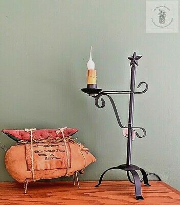 Primitive Country Black Metal Star Lamp Bulb included  Free ship