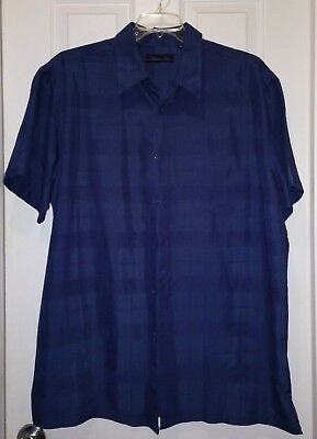 Milano Bay Mens Big Tall Blue Short Sleeve Button Front Shirt XL